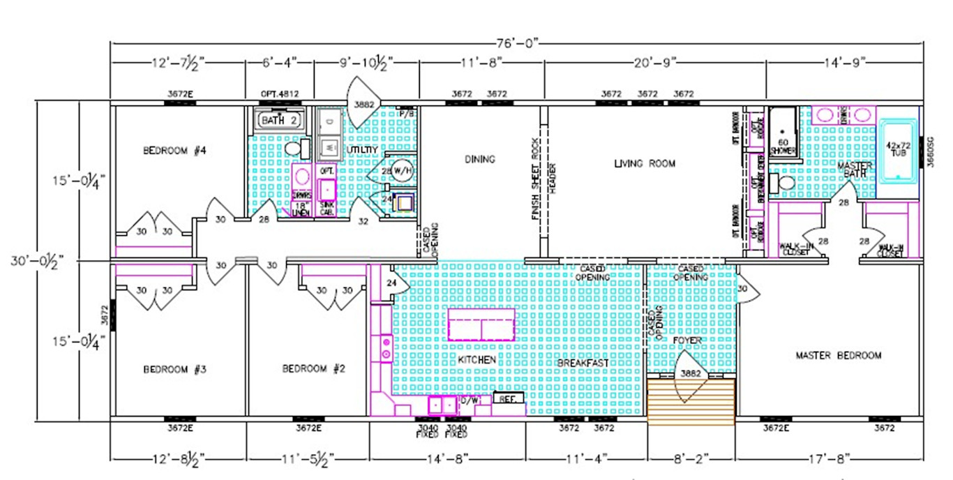 Acadia Dimensioned Floorplan