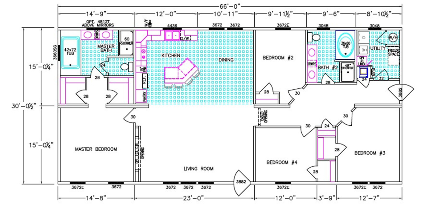 The Grove Dimensioned Floorplan