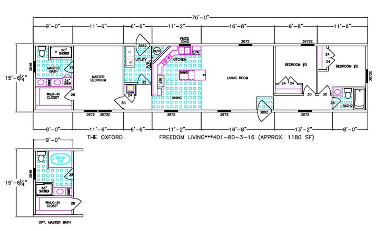Oxford  Dimensioned Floorplan
