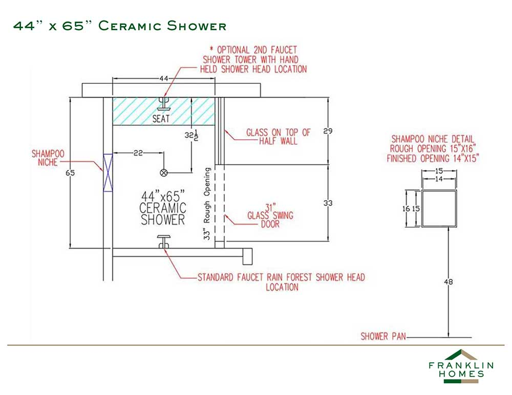 Ceramic Shower - 44x65 Inch
