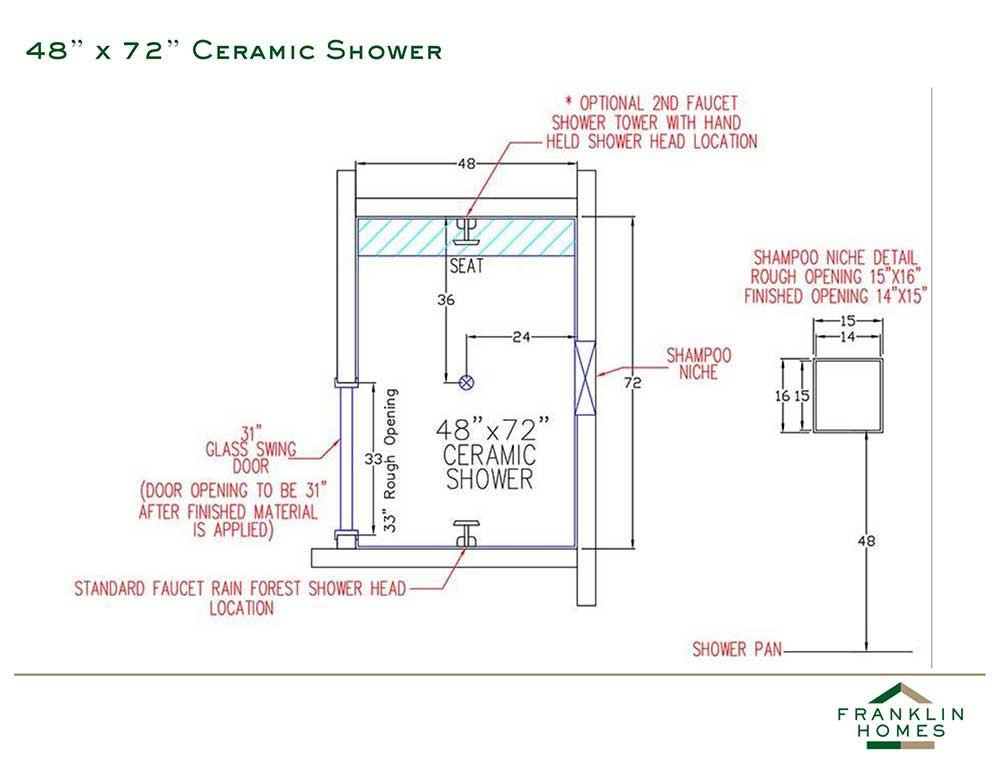 Ceramic Shower - 48x72 Inch