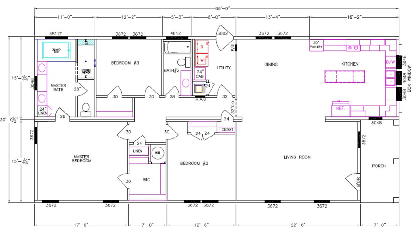 Coach House Dimensioned Floorplan