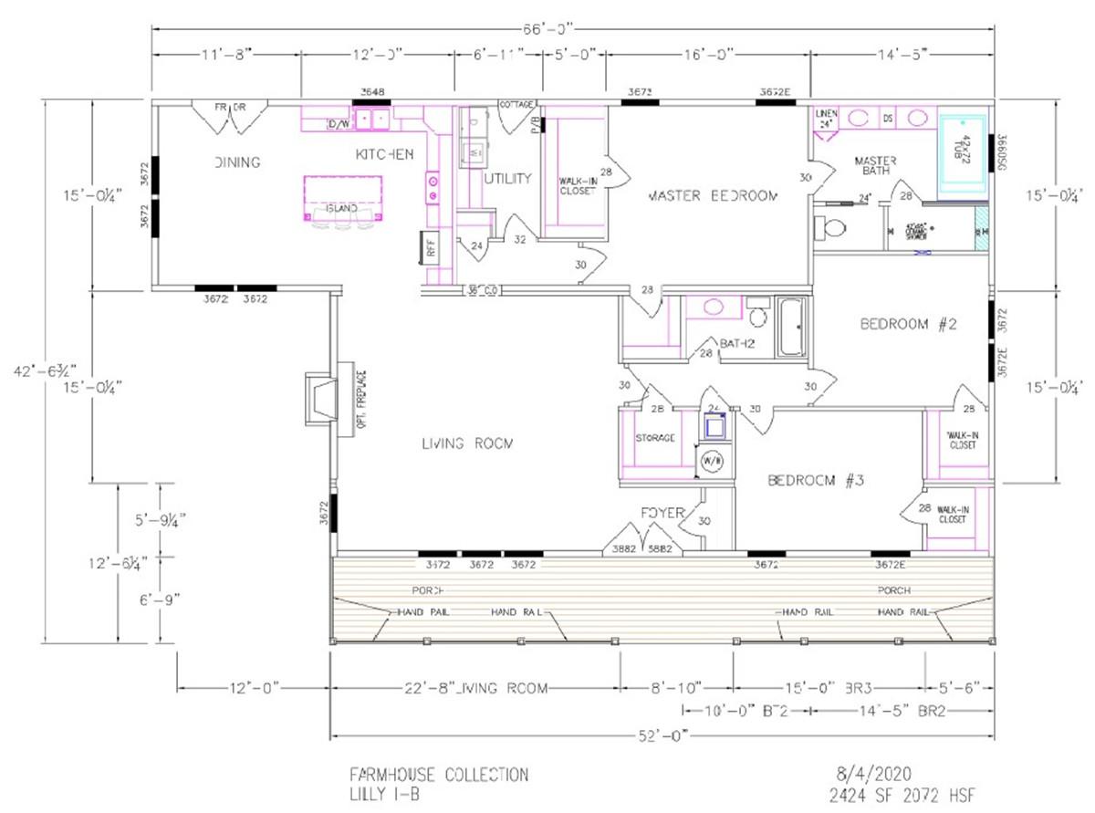 Lilly I-B Dimensioned Floorplan