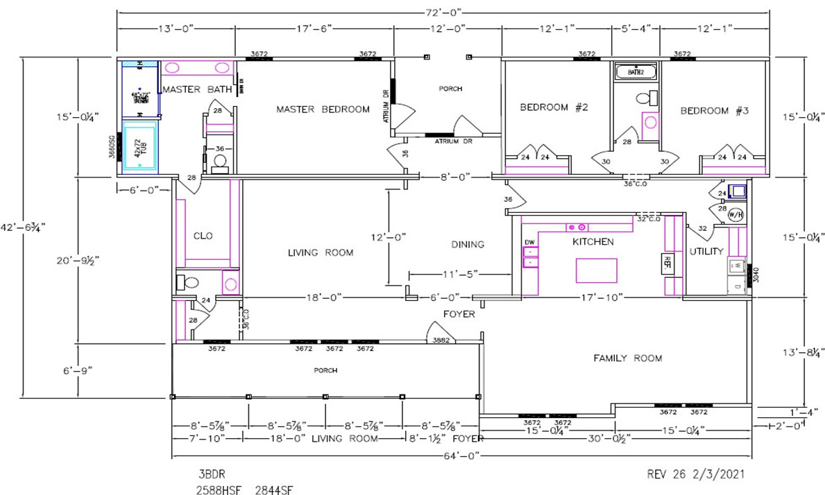 Cypress Lake I Dimensioned Floorplan