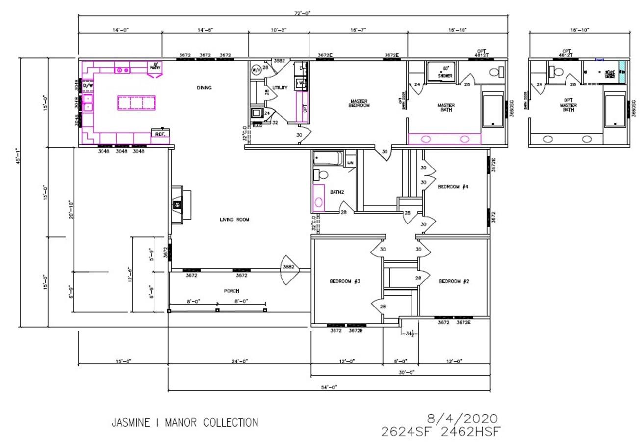 Jasmine I Dimensioned Floorplan