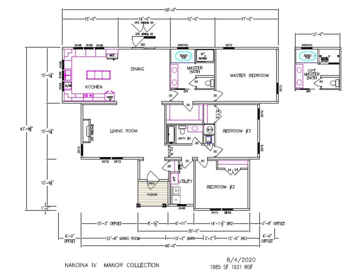 Nandina IV Dimensioned Floorplan